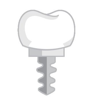 Ikon, tand med skruv i botten